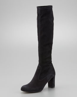Valentino Stretch Suede Knee Boot, Black