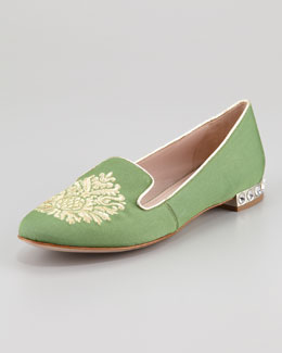 Miu Miu Embroidered Smoking Slipper, Green