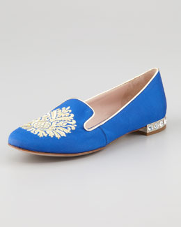 Miu Miu Metallic Embroidered Smoking Slipper, Blue