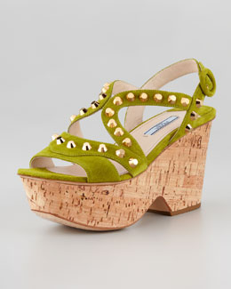 Prada Studded Cork Wedge, Edera