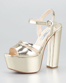 Prada Specchio Leather Platform Sandal