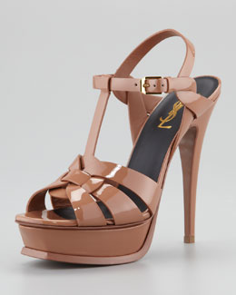 Saint Laurent Tribute Patent Leather Sandal, Dark Nude