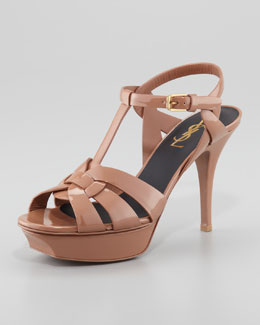 Saint Laurent Tribute Patent Leather Sandal, Dark Nude, 4""