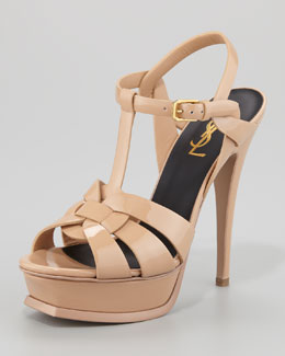 Saint Laurent Tribute Patent Leather Platform Sandal, Light Nude