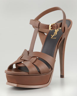 Saint Laurent Tribute Platform Sandal, Taupe