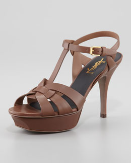 Saint Laurent Tribute Platform Sandal, Taupe, 4""