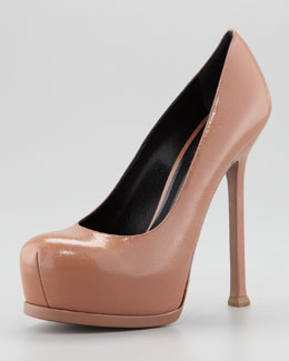 Saint Laurent Tribute Two Patent Leather Pump, Dark Nude