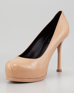 Saint Laurent Tribute Two Patent Pump, Light Nude