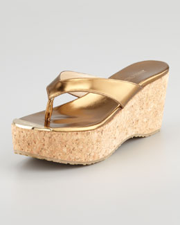 Jimmy Choo Pathos Metallic Cork Wedge Slide