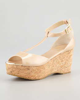 Jimmy Choo Pania Patent Cork Wedge