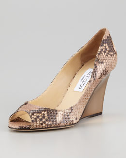 Jimmy Choo Baxen Peep-Toe Snake-Print Wedge Pump