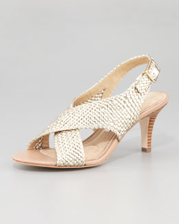 Diane von Furstenberg Vita Metallic Woven Leather Sandal
