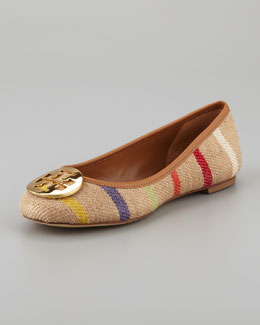 Tory Burch Reva Striped Linen Ballet Flat, Tan Multi