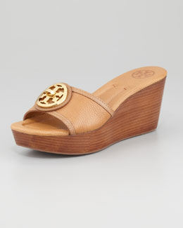 Tory Burch Selma Logo Wedge Slide, Tan