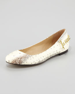 Rachel Zoe Laura Leather Chain Ballerina Flat, Beige