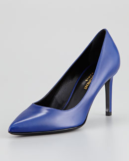 Saint Laurent Paris Leather Pump, Blue de France