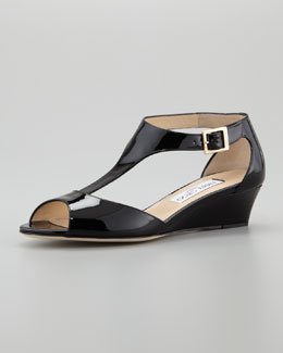 Jimmy Choo Treat T-Strap Micro Wedge Sandal