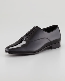 Saint Laurent Billy Patent Lace-Up Flat Oxford