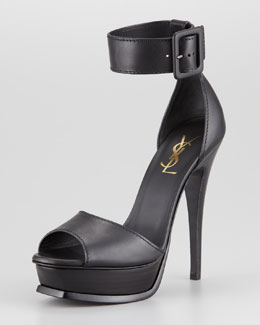 Saint Laurent Tribute Ankle Strap Platform Heel, Black