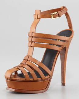 Saint Laurent Tribute T-Strap Caged Sandal