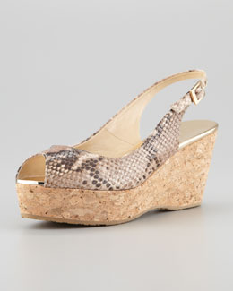 Jimmy Choo Praise Snake-Print Cork Wedge