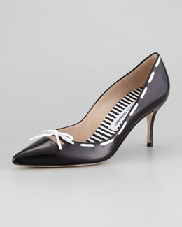 Manolo Blahnik Conti Bow Pump, Black/White