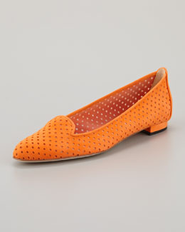 Manolo Blahnik Sharifac Perforated Suede Flat, Orange