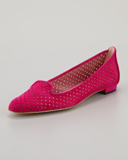 Manolo Blahnik Sharifac Perforated Suede Flat, Fuchsia