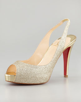 Christian Louboutin No Prive Glittered Slingback Red Sole Pump