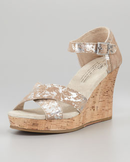 TOMS Brushed Metallic Cork Wedge, Pewter
