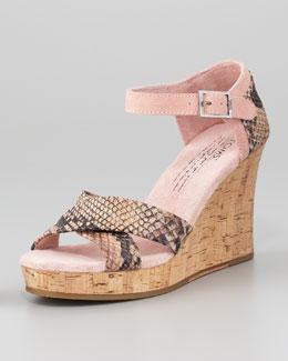 TOMS Snake-Embossed Leather Cork-Wedge Sandal, Rose Serpentine