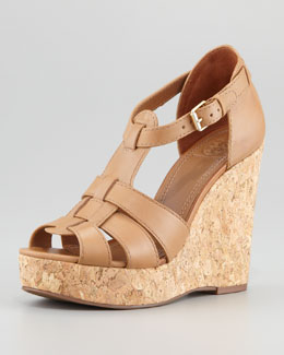 Tory Burch Wendelle Cork Platform Wedge