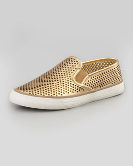 Tory Burch Miles Perforated Slip-On Sneaker, Gold