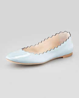 Chloe Scalloped Patent Leather Ballerina Flat, Blue
