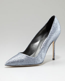 Manolo Blahnik BB Glitter Fabric Pump