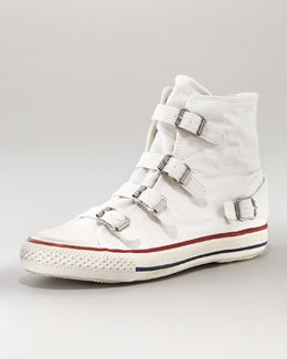Ash Canvas Buckle Hi-Top Sneaker