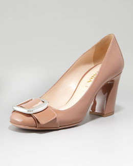 Prada Patent Leather Buckle Pump