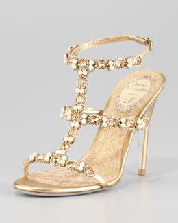 Rene Caovilla Bejeweled T-Strap Sandal