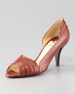 O Jour Layered Leather Peep-Toe Pump, Tobacco