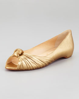Christian Louboutin Turban Metallic Leather Red Sole Flat
