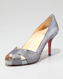 Christian Louboutin Shelly Shimmer Red Sole Pump, Silver