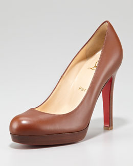 Christian Louboutin Bruges Leather Platform Red Sole Pump, Medium Brown