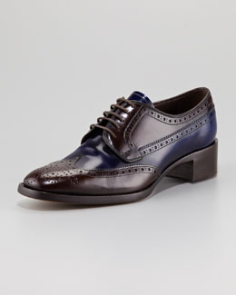 Prada Bi-Color Lace-Up Loafer