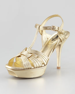 "Yves Saint Laurent Tribute Metallic Sandal, 4"" Heel"