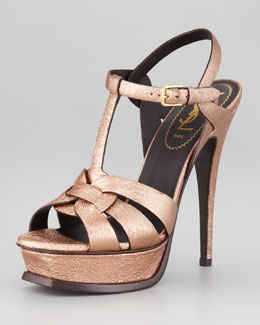 Yves Saint Laurent Tribute Metallic Leather Sandal