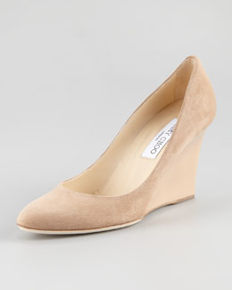 Jimmy Choo Allen Suede Wedge Pump, Nude