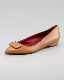 Lanvin Pointed-Toe Leather Flat