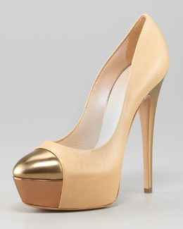 Casadei Metallic Cap-Toe Pump