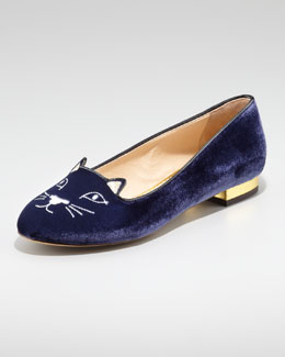 Charlotte Olympia Cat-Face Smoking Slipper, Navy