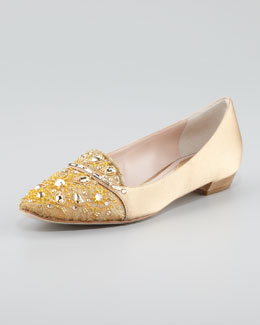 Rene Caovilla Satin and Lace Embellished Smoking Slipper, Gold